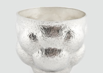Britannia silver cup  Hand raised, chased  Height 75mm Diameter 80mm  Photography by Kat Hannon