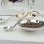 Salt & pepper bowls Sterling silver and gilt salt & pepper bowls with spoons  80mm x 25mm   2015