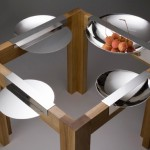 Table of dishes:  These unique dishes are designed for the perfect dinner.  Each one  slots over the the edge of the table but with such a high shine looks like they are part of the table.  Dimensions vary from 20 - 30cm diameter