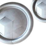 10 inch and 6 inch wall plates inspired by the cubist movement.