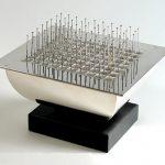 Desk Box, Hinged, 925 Silver, Slate, Steel Pins, 18ct Gold Pin. 12cm x 18cm x 12cm H. Photo A Nelki