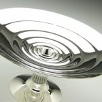 This bright bowl, with it's rippled, highly polished surface, rest on a fluted glass column and silver foot.  Sterling silver and glass.  Diameter: 35cm, height: 15cm