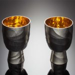 Silver gilt goblets, hand raised