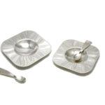 Forged Britannia Spoons & Britannia Condiment Dish Set
