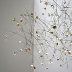 Flowerfall- stainless steel wire, silver, gold leaf 2005.
