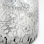 Detail shows the multi-layered hand-painted etching that depicts a year of seasonal evolution in the clients' garden, mirroring their life together. See entire jug at www.kayivanovic.com (up-to-date Adobe Flash needed).