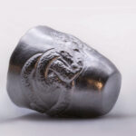 Hand chased Sterling silver cup inspired by the Anglo-Saxon artefacts.