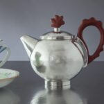 """Tiny """"Cockerell"""" teapot.  300ml capacity.  925 Silver and Red Ivory Wood"""