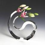 Sculptural Sterling silver vase, hand-forged   width 40 cm