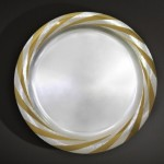 Silver, rim hand engraved and polished part gilded 36 cm diameter   October 2008 Photo : Simon Armitt