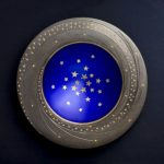 Bowl - Silver, yellow and black gilding, hand engraved, blue enamel, gold leaf stars.
